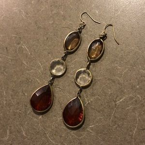Gold and tan accented drop earrings